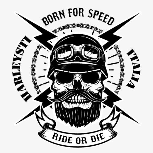 Teschio con barba - biker - Maglietta Premium da uomo