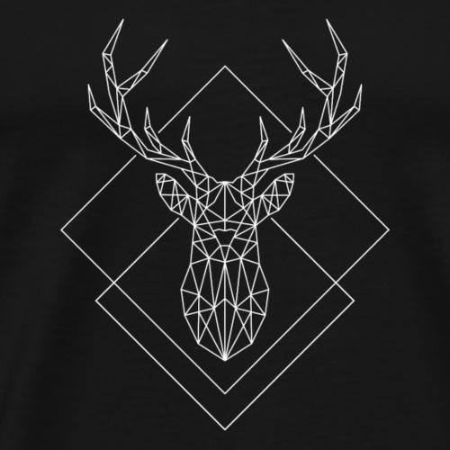 Polygon Hirsch weiss - Männer Premium T-Shirt