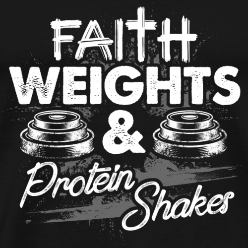 Weights Protein Shakes Fitness Gym Clothing spruch - Männer Premium T-Shirt