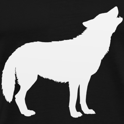 Wolf Howl Silhouette White - Men's Premium T-Shirt