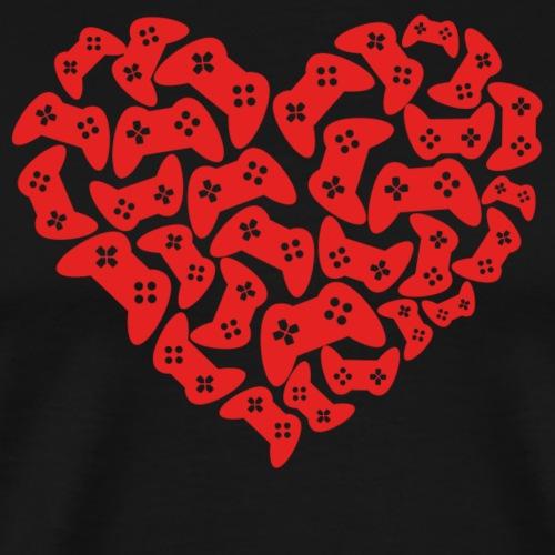 Gamer Herz Controller - Männer Premium T-Shirt
