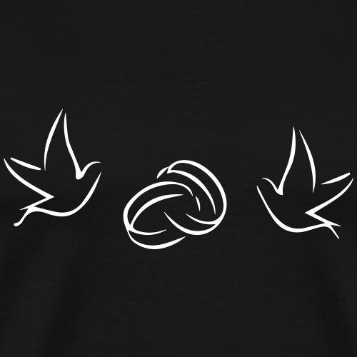 Tauben (Hochzeitsringe) - Männer Premium T-Shirt