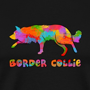 Border Collie Rainbow sky - Premium-T-shirt herr