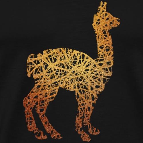 Lama Alpaka #1 Gold Glitzer Geschenk Geschenkidee - Männer Premium T-Shirt