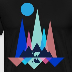 Cat at night in the mountains - Men's Premium T-Shirt