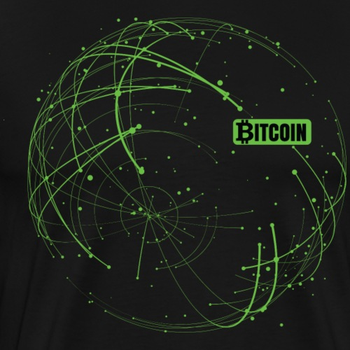 Bitcoin Blockchain Gruen Schwarze Schrift - Männer Premium T-Shirt