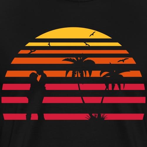 Küssendes Paar am Strand unter Palmen - Männer Premium T-Shirt