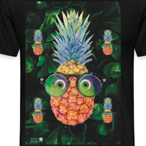 05 Ananas mit Sonnenbrille Poster Margarita Art - Männer Premium T-Shirt