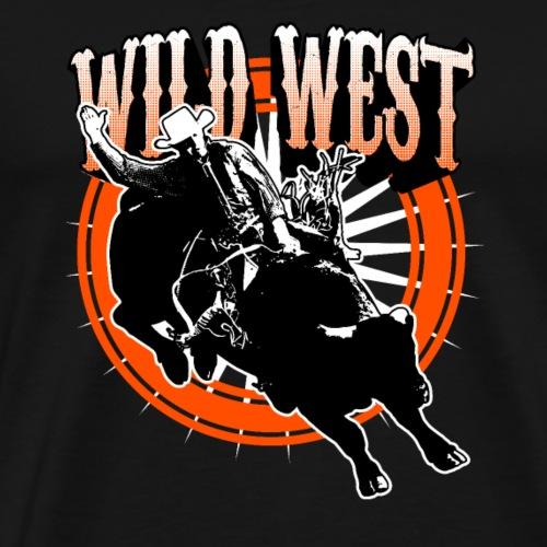 Wild West Cowboy reitet auf black Bullen T-Shirt - Männer Premium T-Shirt