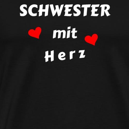Schwester mit Herz Liebe - Geschenk - Männer Premium T-Shirt