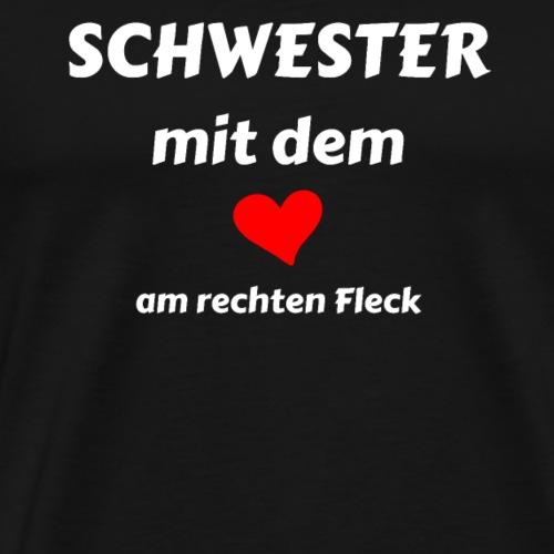 Schwester Herz rechter Fleck, Liebe - Geschenk - Männer Premium T-Shirt
