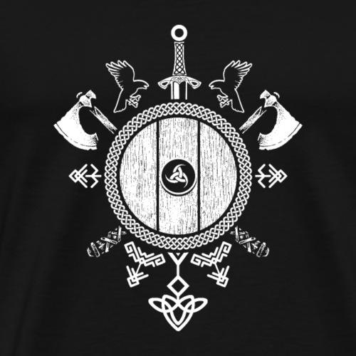 Wappen mit Keltischem Knoten (dunkler Hintergrund) - Männer Premium T-Shirt