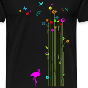 Spring Flamingo flowers butterflies Valentin - Men's Premium T-Shirt