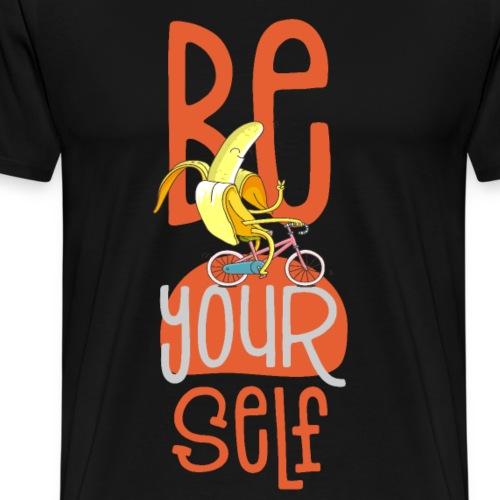 fröhliche be yourself Hipster Banane auf Fahrrad - Männer Premium T-Shirt