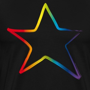 star-star colorful rainbow outline simple musical - Men's Premium T-Shirt