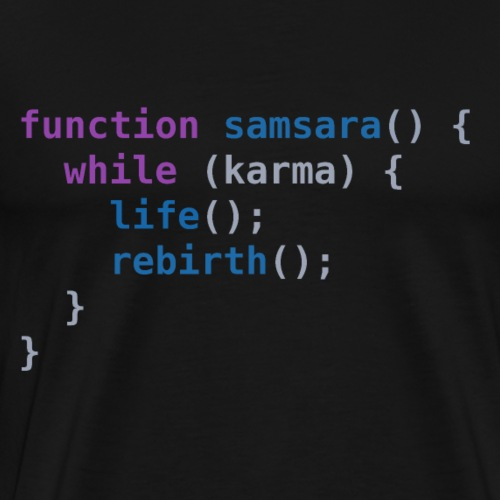 Funny T-Shirt: Samsara in JavaScript | Programmer - Mannen Premium T-shirt