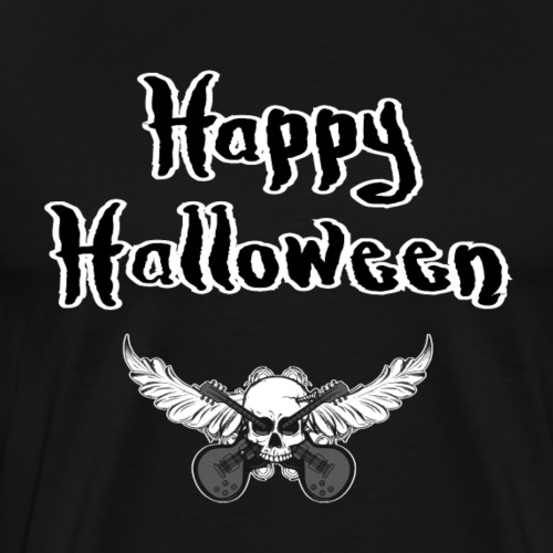 Happy Halloween-- Rockmusik Gitarren und Totenkopf - Männer Premium T-Shirt