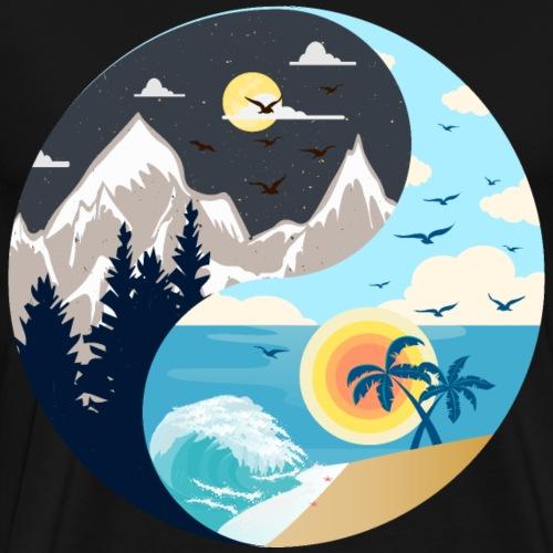 ying yang Strand & Berge - Männer Premium T-Shirt