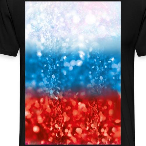 04 Russland Flagge Glitzer Poster Schirt Geschenk - Männer Premium T-Shirt