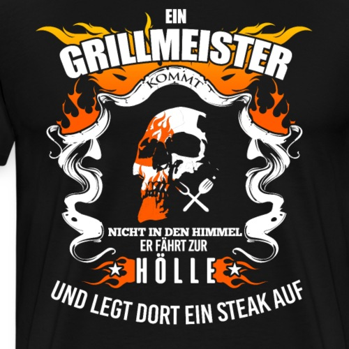 Grillen Grillmeister Grill Schädel BBQ Geschenk - Männer Premium T-Shirt