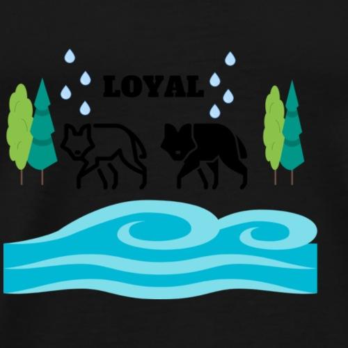 LOYAL Wölfe Wasser Bäume Design Geschenk - Männer Premium T-Shirt