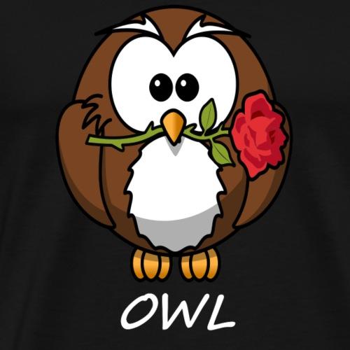 Eule mit Rose im Schnabel Vogel Geschenk - Männer Premium T-Shirt