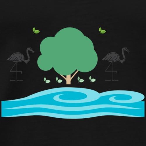 Natur - Bäume, Wasser; Vögel, Blätter - Männer Premium T-Shirt