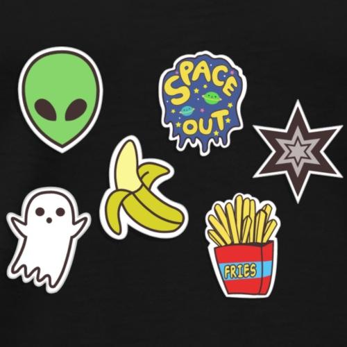 Sticker Bomb Space&Food - Alien, Geist, Banane,USW - Männer Premium T-Shirt