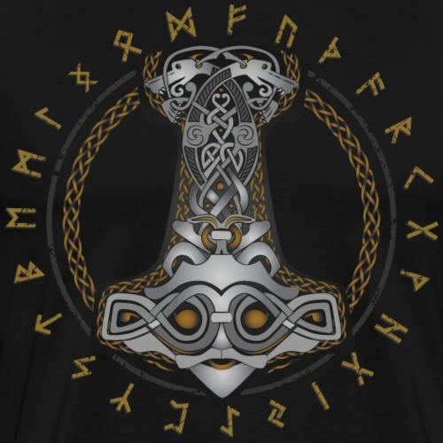 Thor Hammer Mjolnir with Futhark protective runes. - Men's Premium T-Shirt