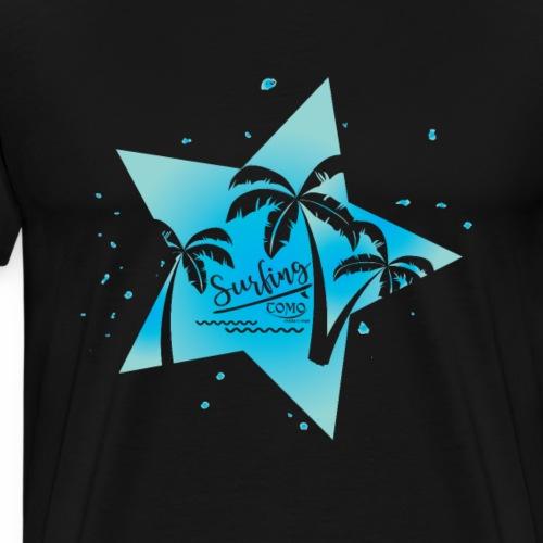 Welle Meer Surfen Palmen - Männer Premium T-Shirt
