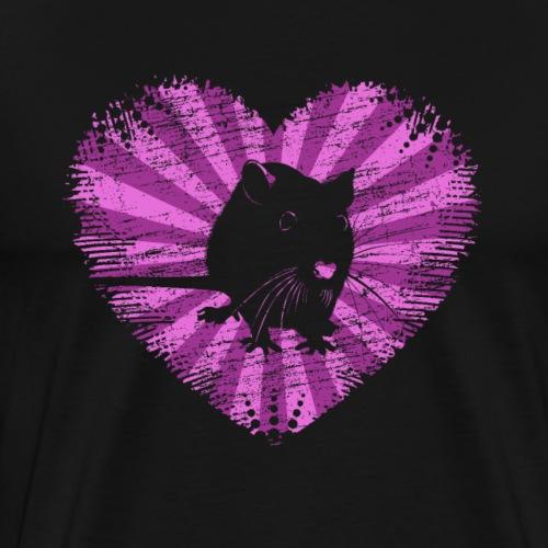 Ratte mit Herz - Männer Premium T-Shirt