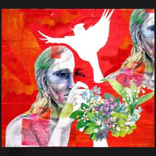 Lady and a dream of a bird - Miesten premium t-paita