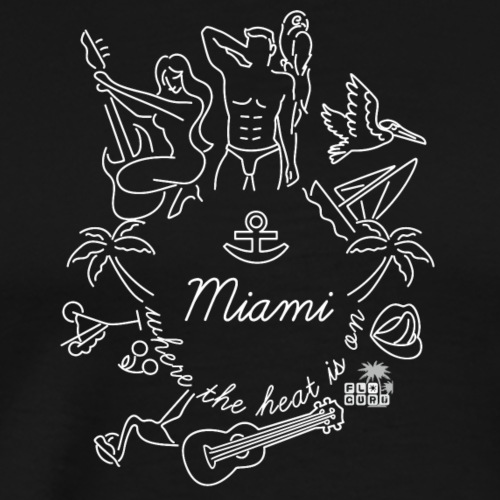 Miami - Where the heat is on... S/W by FloridaGuru - Männer Premium T-Shirt