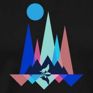 Mountain Wolf Polygon - Premium T-skjorte for menn