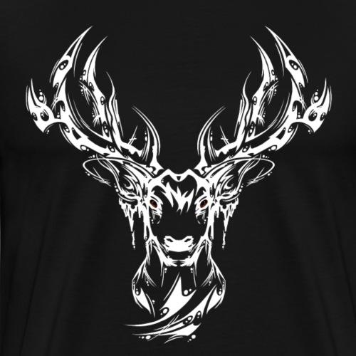 Hirschkopf simpel weiss - Männer Premium T-Shirt