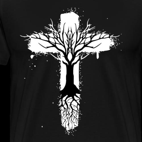 Lebensbaum mit Kreuz - Männer Premium T-Shirt