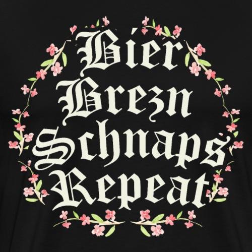 Oktoberfest Shirt - Bier, Brezn, Schnaps, Repeat - Männer Premium T-Shirt