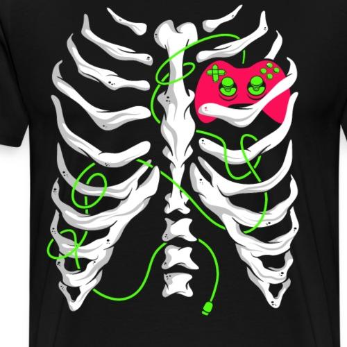 Skelett Gamer Gaming Controller - Männer Premium T-Shirt