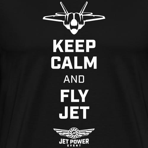 Spruch Keep calm and fly Jet, weiß - Männer Premium T-Shirt