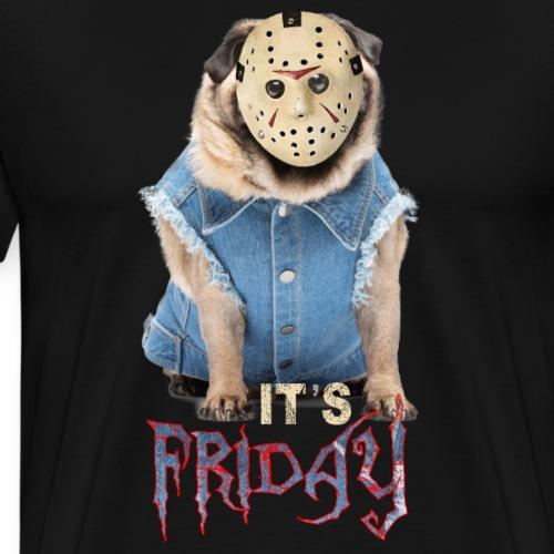 Bulldog Francés con Máscara Jason Halloween - Camiseta premium hombre