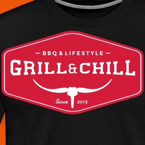BBQ and Chill / BBQ and Lifestyle Origin Logo - Men's Premium T-Shirt
