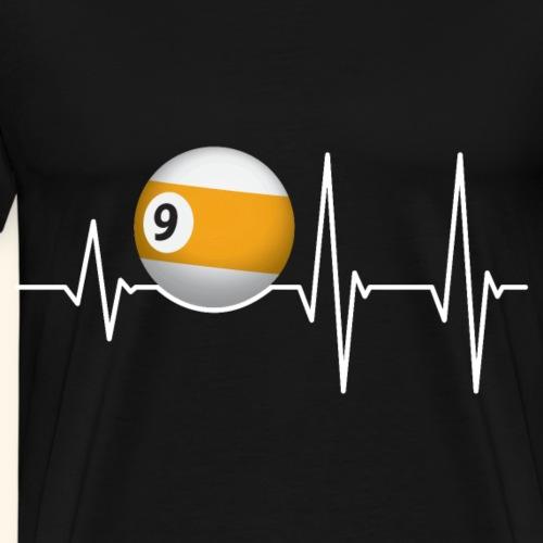 Herzschlag Pool Billard Spieler Sportfan 9er Ball - Männer Premium T-Shirt