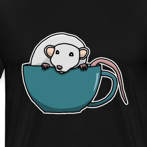 Ratte, Tasse, Tier, süß, Zeichnung, Geschenk - Männer Premium T-Shirt