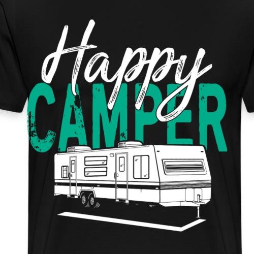 Happy Camper T Shirt Retro Camping Trailer - Männer Premium T-Shirt
