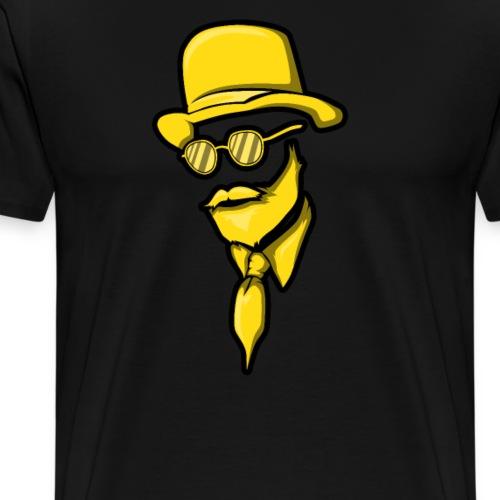 Man Mann Mit Bart Bärtiger Bartträger Hut Elegant - Männer Premium T-Shirt