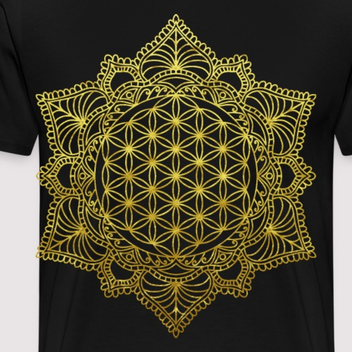 Blume des Lebens Heilige Geometrie in Gold - Männer Premium T-Shirt