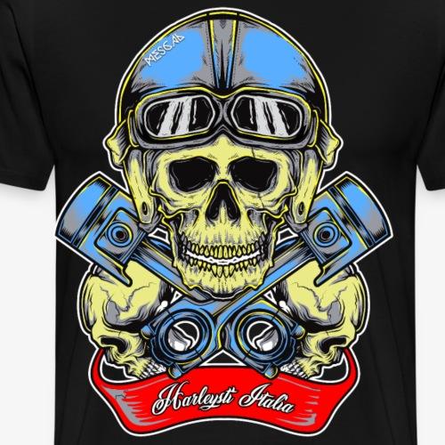 Teschio con casco vintage e pistoni - By Mescal - Maglietta Premium da uomo