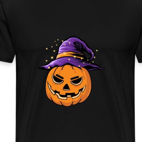 Halloween Kürbis mit Hut Hexenhut Kostüm Geschenk - Männer Premium T-Shirt