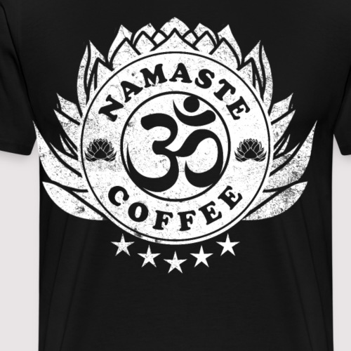 Namaste Om und Kaffee Logo Design - Männer Premium T-Shirt