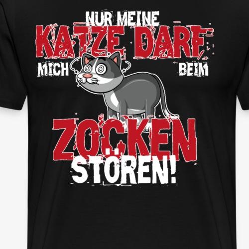 Gamer T-Shirt Katze zocken Gaming - Männer Premium T-Shirt